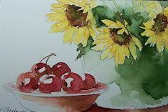 Watercolor Paintings by RoseAnn Hayes: SUNFLOWERS AND CHERRIES