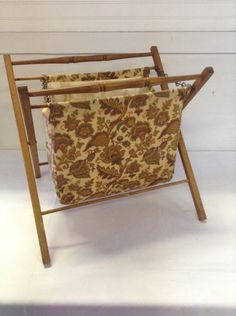 No. 6  Vintage Folding Sewing / Knitting / Crocheting Fabric Basket Tote with Wood Frame Turned Handles and Chains Craft Yarn Portable by ReEmporium on Etsy