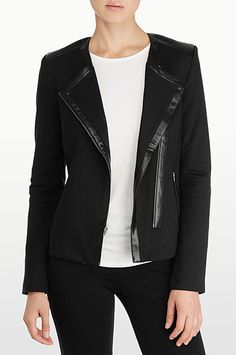 NYDJ - MOTO JACKET WITH FAUX LEATHER DETAILS.