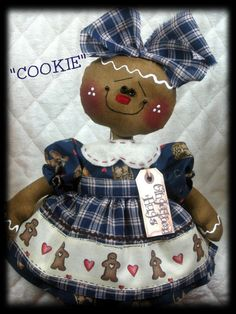 """Primitive Gingerbread Doll """"COOKIE"""" PATTERN #288 ~~ from Ginger Creek Crossing #NaivePrimitive Gingerbread Decorations, Christmas Gingerbread, Christmas Decorations, Primitive Doll Patterns, Primitive Crafts, Ginger Man, Beaded Christmas Ornaments, Xmas Ideas, Christmas Projects"""