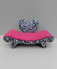 Pink & Zebra Heart Chaise Lounge  by Funky Kids by Mauricio's Furniture