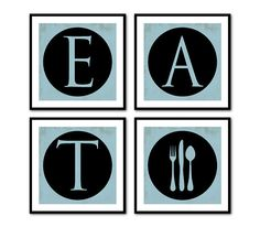 EAT  Fork Spoon Knife  Four square prints  by SusanNewberryDesigns
