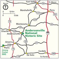 Andersonville Prison Area map showing roads and communities in the vicinity of Andersonville National Historic Site