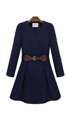 Royal Slim fur collar wool coat