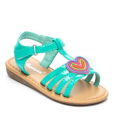 Look what I found on #zulily! Teal Heart Sandal by Ositos Shoes #zulilyfinds
