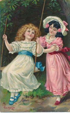POSTCARD CHILDREN Swing Time Eva Hollyer