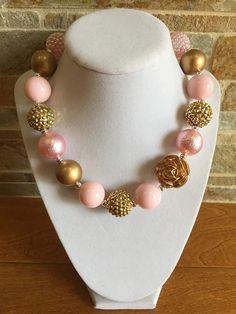 Bubblegum Necklace Pale Pink Gold Chunky by BabyBaublesAZ on Etsy