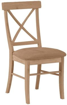 Hardwood X-Back Dining Chair with Upholstered Seat - 2 Pack