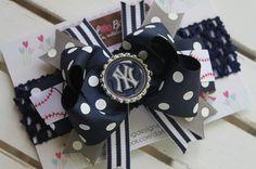 New York Yankees Bow and headband  navy by DarlingLittleBowShop, $12.95
