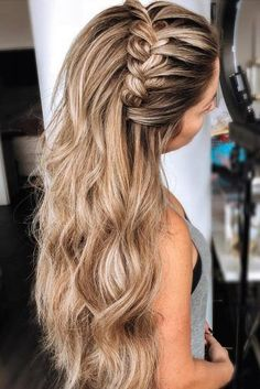 25 Glamorous Wedding Hair Half Up Half Down Hairstyles glamorous and timeless wedding hair half up half down hairstyles; wedding hairstyles trendy hairstyles and colors wedding hairstyles half up half down; wedding hairstyles for long hair; Plaits Hairstyles, Wedding Hairstyles For Long Hair, Braids For Long Hair, Easy Hairstyles, Hairstyles With Headbands, Hair Down With Braid, Hairstyle Ideas, Hairstyles For Women Long, Hairstyles For Graduation