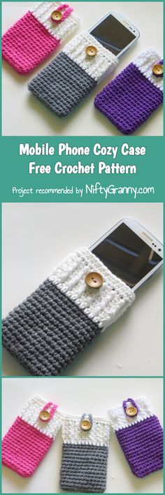 Mobile Phone Cozy Case Free Crochet Pattern #diy #howto #diyproject #crochet #crocheting #crochetpattern #freepattern #pattern #patternsforcrochet #yarn #phone #case #phonecase #iphone #iphonecase #cozy #mobile #cellphone #cover #samsung #iphone #button #colours #colors