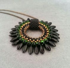 Black Green Dagger Beaded Pendant  Delica Magamata