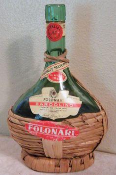 Vtg Empty 1966 FOLONARI BARDOLINO Red Wine Bottle Aqua Green Chianti Bottle