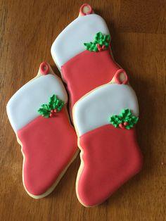 Iced Cookies, Cute Cookies, Cupcake Cookies, Cupcakes, Christmas Stocking Cookies, Christmas Sugar Cookies, Christmas Stockings, Christmas Goodies, Christmas Baking