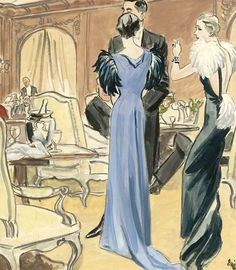 Eric illustration, Schiaparelli fashion. The feathers are accentuating the shoulders for these women.