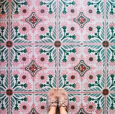 You don't have to be wearing statement shoes to take a good floor picture, sometimes the best ones happen naturally if you just look down! Chic neutral lace ups complement this gorgeous tile floor perfectly.