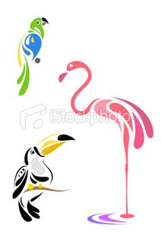Stylized birds - parrot, toucan and flamingo Easy Canvas Painting, Fabric Painting, Animal Line Drawings, Painted Rocks, Hand Painted, Pancake Art, Rock Painting Designs, Origami, Bird Crafts