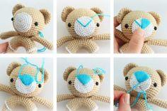 Amigurumi teddy bear rattle crochet pattern - nose