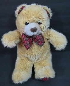 "Tan & Red Green Plaid Christmas TEDDY BEAR Soft Stuffed 11"" Animal Toy B232"