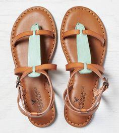 Tan AEO Colorblocked T-Strap Sandal