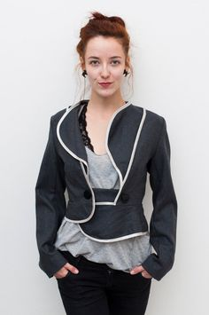Wing Collar Grey Jacket/ Elegant Gray and Silver by YanaThal