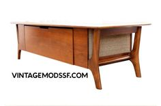 mid century coffee table console w/speakers