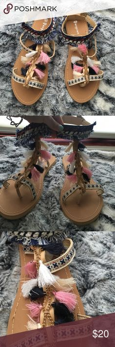 NWOT bohemian sandals Never worn. Perfect brand new condition. Hand made with fabric pompom design and gold chain. Snap buckle styled back. Size US 9 (brandy Melville used for exposure not actually from there) Brandy Melville Shoes Sandals