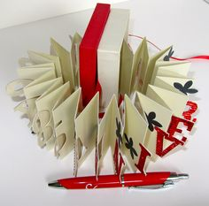Happy 35th Anniversary Wishes Pop Up Accordion Book Card in A Box Handmade in Metallic Red and Ivory Personalized CUSTOM ORDER One Of A Kind. $50.00, via Etsy.