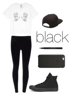 """blacker than black"" by angiee125 ❤ liked on Polyvore featuring Zoe Karssen, Vans, Converse, Stila and Black Apple"