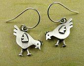 Tiny chicken earrings