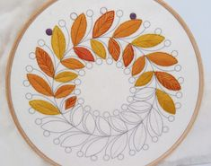 Autumn Pallette of leaves. this hand embroidery pattern is mainly stitched with whip stitch. You can get a copy of this design from StitchDoodles. Embroidery Tools, Hand Embroidery Videos, Embroidery Flowers Pattern, Embroidery Patches, Modern Embroidery, Indian Embroidery, Folk Embroidery, Old Book Crafts, Border Embroidery Designs