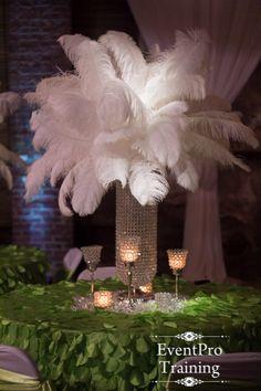 Rent Ostrich Feather Centerpieces Includes 30 Quot Reversible Glass Trumpet Vase Clear Liquids