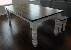 """7 ft. x 40"""" Joyce Classic Farm Table by You're Unique with matching bench. #farmhouse #farmtable #atlantacustomfurniture #cottage #countrydining"""