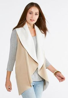 Take the cold weather on by style in this cozy sweater vest, featuring a wide collar front and two-toned design for a neutral and versatile finish. Chic Outfits, Fall Outfits, Warm Weather Outfits, Cold Weather, Shearling Vest, Plus Size Brands, Cozy Sweaters, Sweater Weather, What To Wear