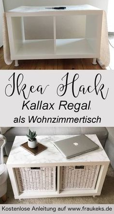 Wie ihr aus einem einfachen Kallax Regal einen stylischen Wohnzimmertisch baut, erfahrt ihr in diesem Blitz Ikea Hack auf meinem Blog!