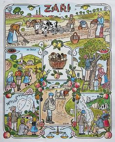 Josef Lada Josef Lada Hrusice - Prague) was a Czech painter, illustrator and writer.Illustration for the calendar, seasons-August. Naive Art, Autumn Activities, Illustrations, Czech Republic, Four Seasons, Folk Art, Needlework, Fairy Tales, How To Draw Hands