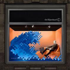 "de Bijenkorf, Amsterdam, The Netherlands presents Hermès, ""TIDAL-WAVE: a large,destructive ocean wave, produced by a seaquake, hurricane or strong wind"", by Bonsoir Paris, pinned by Ton van der Veer"