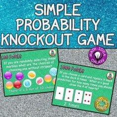 I've rounded up 9 engaging ways to practice with simple probability. These simple probability activities, games, and tools make math practice fun. Probability Games, Math Games, Math Activities, Kindergarten Games, 7th Grade Math, Grade 2, Fourth Grade, Math Night, Teaching Math
