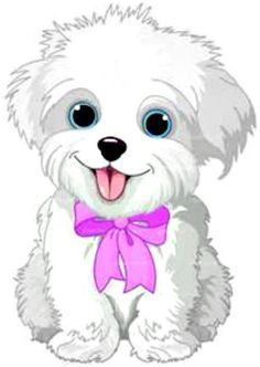 Clipart Cute Bichon Frise Or Maltese Puppy Dog Wearing A Pink Bow - Royalty Free Vector Illustration by Pushkin Cute White Puppies, Cute Dogs, Dog Clip Art, Dog Art, Lap Dogs, Dogs And Puppies, Cute Drawings, Animal Drawings, Dog Stock Photo