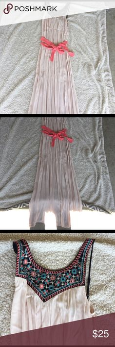Amazing maxi dress NEW Beautiful elegant maxi. Super cute and very comfortable to wear. Sheer light pink but NOT see through. Beautiful satin tie around it. Price is firm Flying Tomato Dresses Maxi