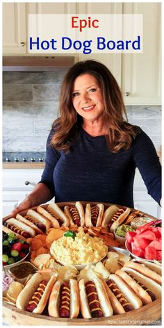 Epic Hot Dog Board for summer hosting with delicious polish sausage hot dogs. Charcuterie And Cheese Board, Charcuterie Platter, Cheese Boards, Party Food Platters, Food Trays, Tapas, Crudite, Good Food, Yummy Food