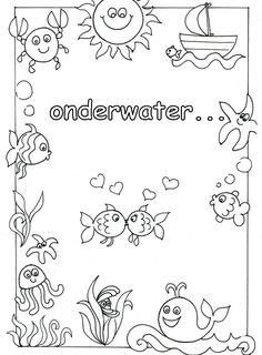* Onder water... Ocean Crafts, School Projects, Under The Sea, Painted Rocks, Underwater, Coloring Pages, Preschool, Mermaid, Green Day