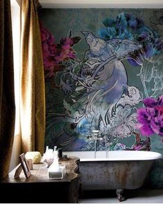 Dramatic walls in the bathroom, yes yes yes @inscapesdesign
