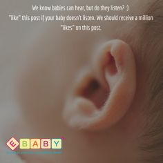 """We know babies can hear, but do they listen? :) """"like"""" this post if your baby doesn't listen. We should receive a million """"likes"""" on this post. #baby #ebaby #Love #Adorable #Babygirl #Babyboy #Babyproducts #Kids #cute #momlife #cutebabies #mommy #mom #mum #momblogger #precious #mommyblogger #babies #Moments #babylove #babybump #babyfashion #babygift #babyshop #babyfood #cutebaby #babiesofinsta #babiesarecute #instababies #babiesarethebest"""