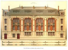 Design for a school on Rue Madame, Paris Neoclassical Architecture, Classic Architecture, Victorian Architecture, Architecture Drawings, Historical Architecture, Architecture Details, Paris, Building Drawing, Architectural Antiques