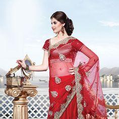 Red Net  Lehenga Style Saree With Blouse Online Shopping: SKK14688