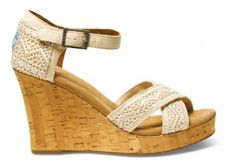 TOMS Natural Crochet Women's Strappy Wedges // the color sorta reminds us of the sandy beach we would wear these to.. coincidence? we think not!