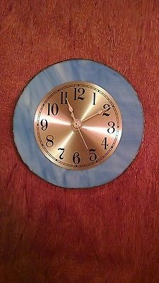 Beautiful Sky Blue With Gold Face Stained Glass Clock -