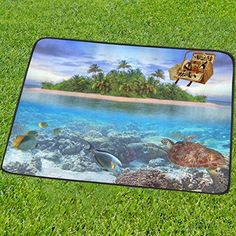 InterestPrint Underwater World Sea Turtle Tropical Coastal Island Custom Picnic Camping Beach Blanket Mat 60 x 78 Inches Park Outdoor Traveling Hiking Foldable Blanket Mat Fit up to 3 People *** Read more  at the image link.