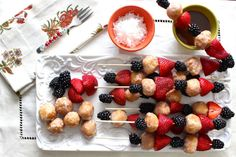donut holes, strawberries, and blackberries....easy + fun for sg snack or breakfast